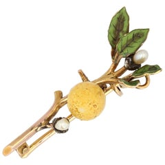 French 20th Century Enamel Natural Pearl Diamond 18 Karat Gold Lemon Brooch