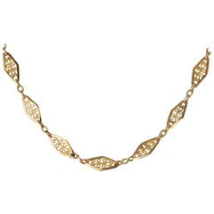 French 20th Century Filigree Vermeil Crewneck Chain