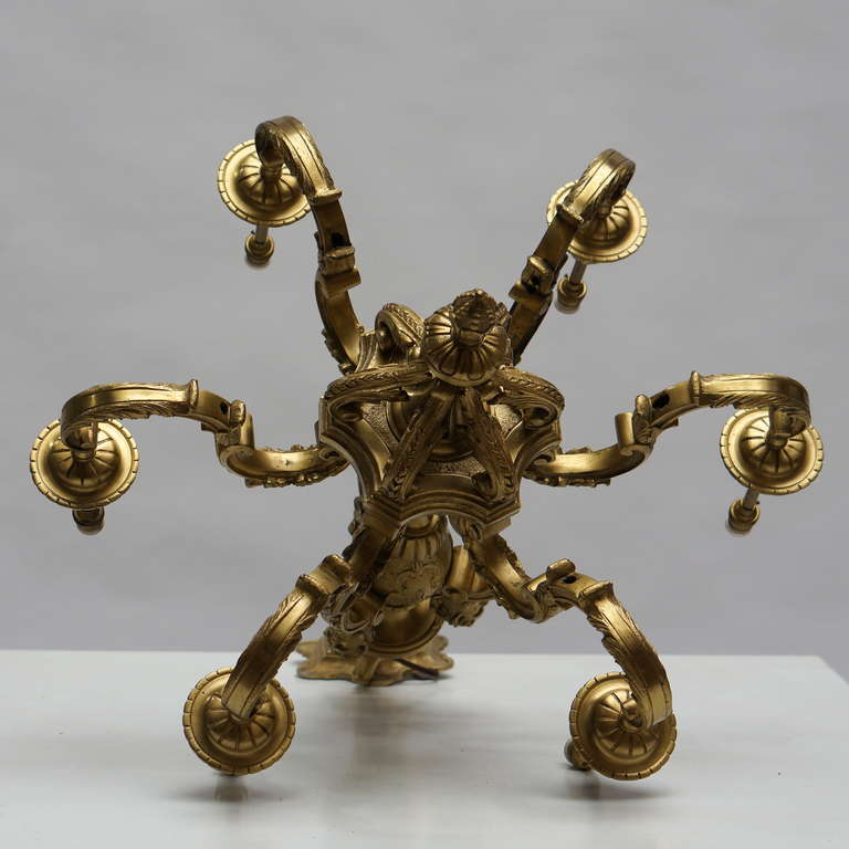 Gilt French 20th Century Gilded Bronze Six-Light Antique Mazarin Chandelier For Sale
