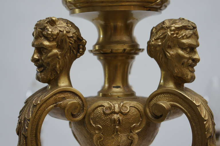 French 20th Century Gilded Bronze Six-Light Antique Mazarin Chandelier For Sale 2