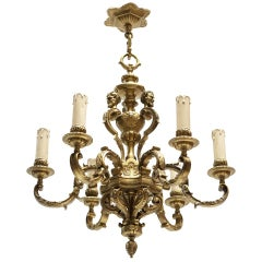French 20th Century Gilded Bronze Six-Light Antique Mazarin Chandelier