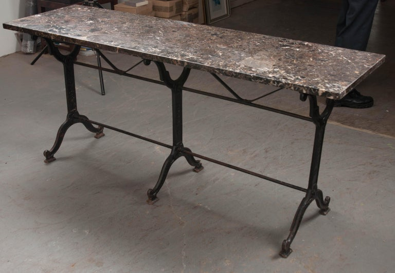 French 20th Century Iron and Stone Garden Table For Sale 6