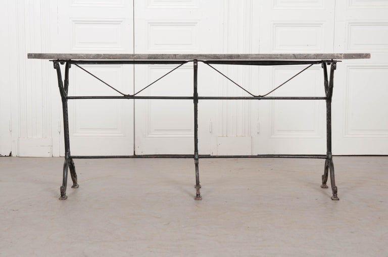 French 20th Century Iron and Stone Garden Table For Sale 4