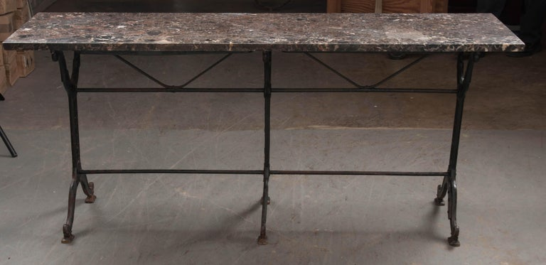 French 20th Century Iron and Stone Garden Table For Sale 5