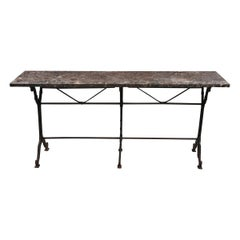 French 20th Century Iron and Stone Garden Table