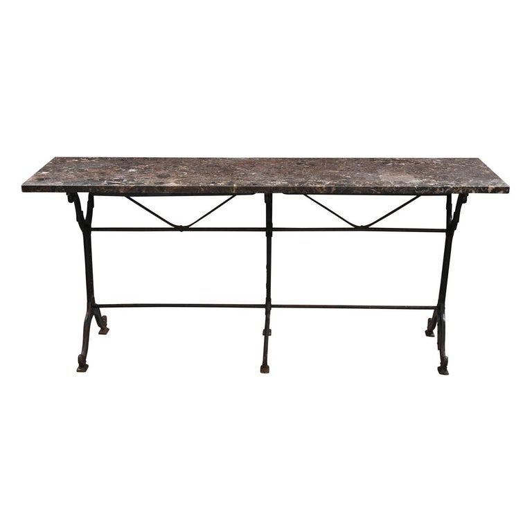 French 20th Century Iron and Stone Garden Table For Sale