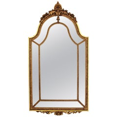 French 20th Century Louis XVI Style Double Framed Large Giltwood Mirror
