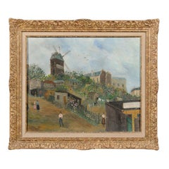 French 20th Century Oil on Board Painting Depicting the Moulin de la Galette
