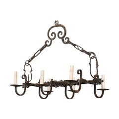 French 20th Century Rectangular Six-Light Iron Chandelier