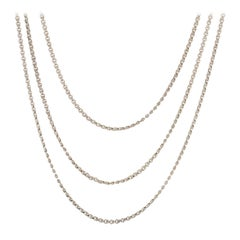 French 20th Century Silver Long Necklace