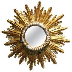 French 20th Century Sunburst Mirror
