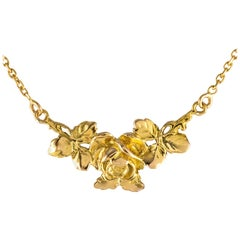 French 20th Century Thin Floral Pattern 18 Karat Yellow Gold Necklace