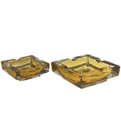 French 20th Century Vintage Glass Ashtrays, Set of Two, 1950s