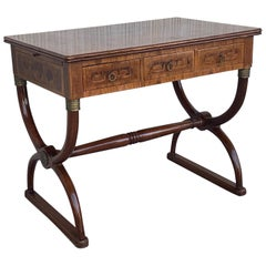 French Charles X Style Marquetry Desk with Sliding Surfaces in Both Side