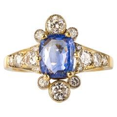 French 2.12 Carat Cushion, Cut Blue Sapphire Diamonds 18 Karat Yellow Gold Ring