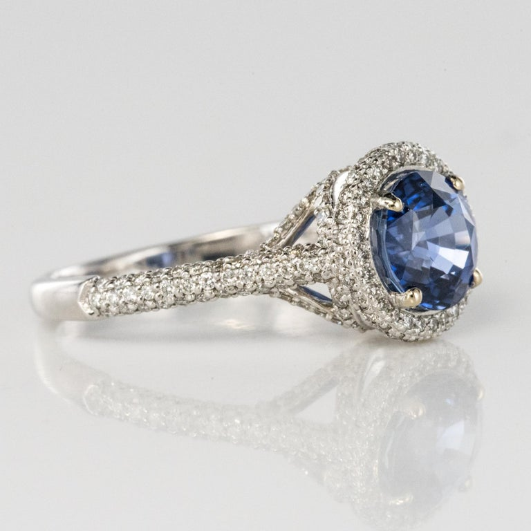 French 2.26 Carat Royal Blue Ceylon Sapphire Diamonds Ring For Sale 8