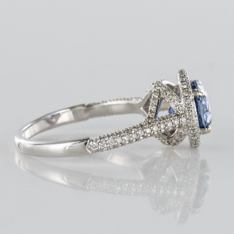 French 2.26 Carat Royal Blue Ceylon Sapphire Diamonds Ring For Sale 10