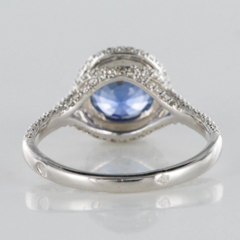 French 2.26 Carat Royal Blue Ceylon Sapphire Diamonds Ring For Sale 12