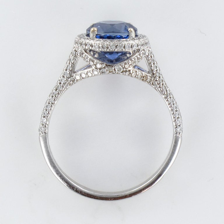 French 2.26 Carat Royal Blue Ceylon Sapphire Diamonds Ring For Sale 13