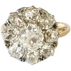 French 2.60 Carat Old Cut Diamond Cluster 18 Karat Yellow Gold Ring