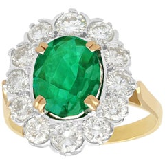 French 2.90 Carat Emerald and 2.38 Carat Diamond Yellow Gold Cluster Ring