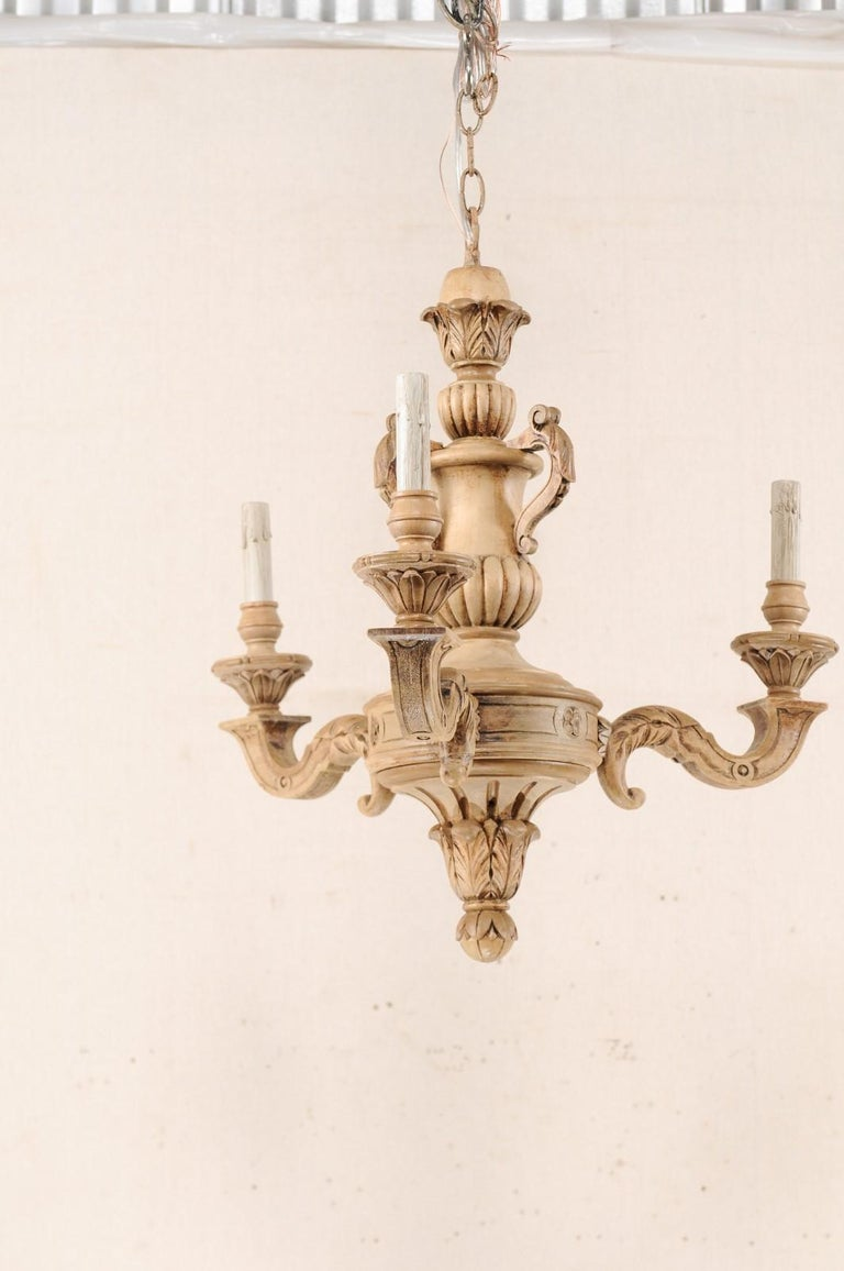 20th Century French 3-Light Carved Natural Wood Chandelier For Sale