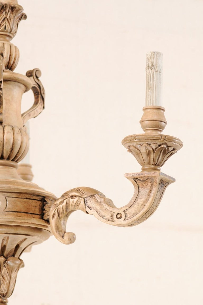 French 3-Light Carved Natural Wood Chandelier For Sale 5