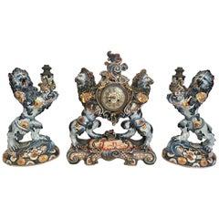 French 3-Piece Porcelain Heraldic Lion Clock Garniture Signed Emile Galle