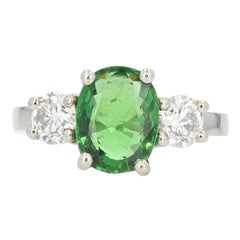 French 3,06 Carat Tsavorite Garnet Diamonds Platinum Ring