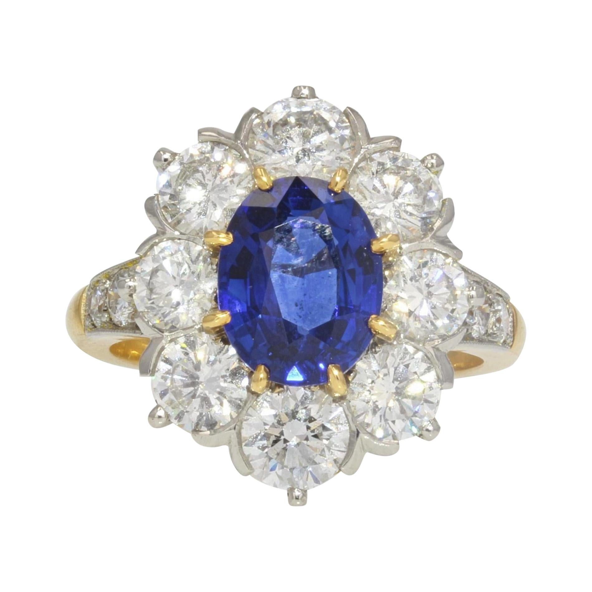 French 3.18 Carat Sapphire Diamonds 18 Karat Yellow Gold Platinum Daisy Ring