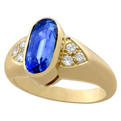 French 3.39 Carat Sapphire Diamond Gold Cocktail Ring