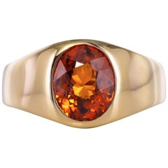 French 3.50 Carat Spessartite Garnet 18 Karat White Gold Ring