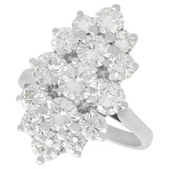 French 3.96 Carat Diamond and White Gold Cluster Ring