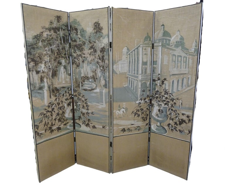 One of a kind French 4-leaf hand painted in grisaille screen. A palace garden is hand painted in grisaille technique that's mean using several shades of a single color, beautiful painting on linen!!! All of it with iron studs the bottom and reverse