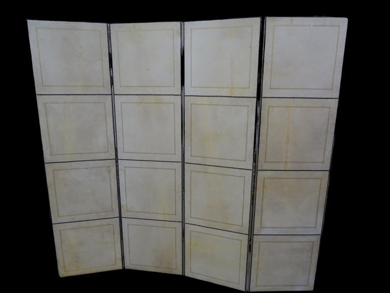 Arts and Crafts French 4-Leaf Grey and Beige Screen Hand Painted in Grisaille and Leather, 1940s For Sale