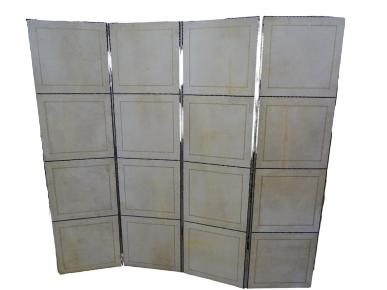Hand-Painted French 4-Leaf Grey and Beige Screen Hand Painted in Grisaille and Leather, 1940s For Sale