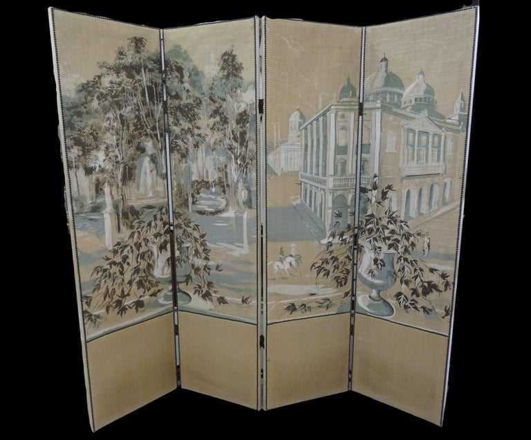 French 4-Leaf Grey and Beige Screen Hand Painted in Grisaille and Leather, 1940s In Good Condition For Sale In Valladolid, ES