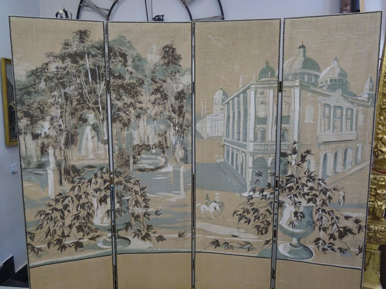 Other French 4-Leaf Grey and Beige Screen Hand Painted in Grisaille and Leather, 1940s For Sale