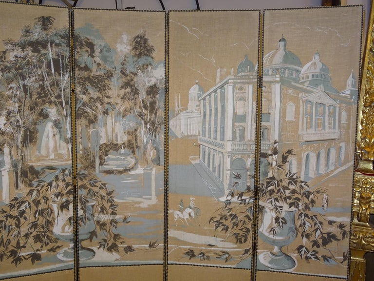 French 4-Leaf Grey and Beige Screen Hand Painted in Grisaille and Leather, 1940s For Sale 1