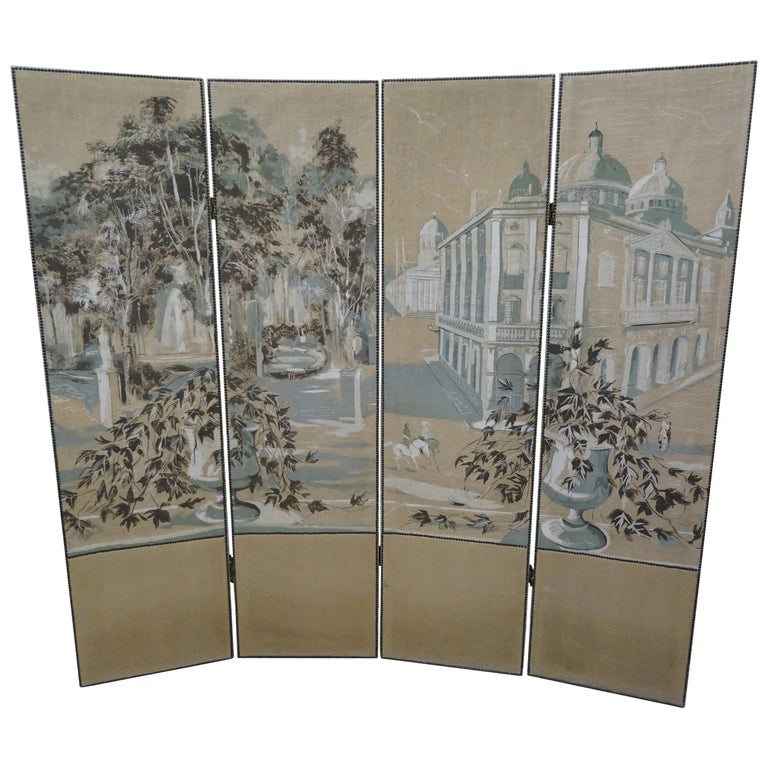 French 4-Leaf Grey and Beige Screen Hand Painted in Grisaille and Leather, 1940s For Sale