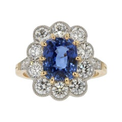 French 4.04 Carat Sapphire Diamonds 18 Karat Yellow Gold Platinum Pompadour Ring