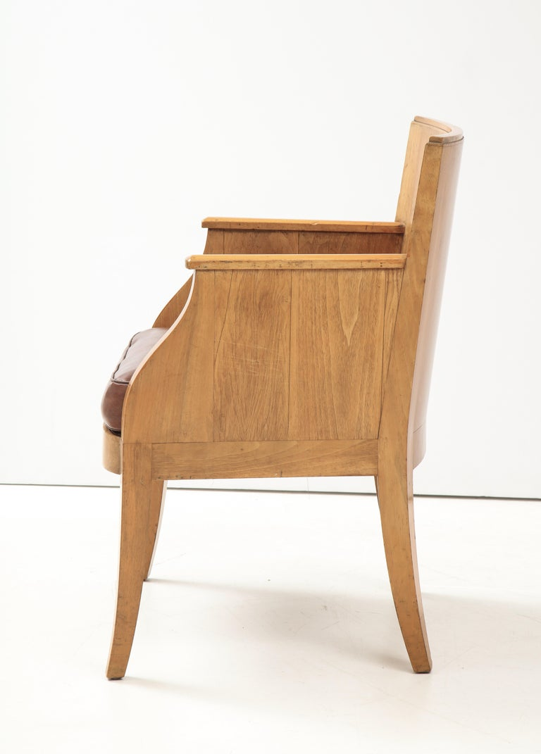 Mid-20th Century French 40's Oak Chair with Original Brown Leather Seat, France, c. 1940 For Sale