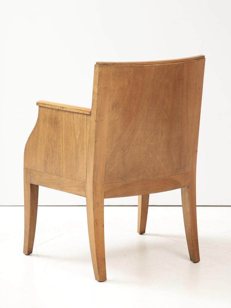 French 40's Oak Chair with Original Brown Leather Seat, France, c. 1940 For Sale 2
