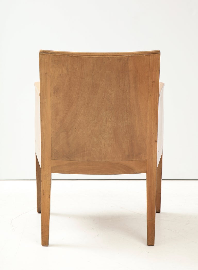 French 40's Oak Chair with Original Brown Leather Seat, France, c. 1940 For Sale 3