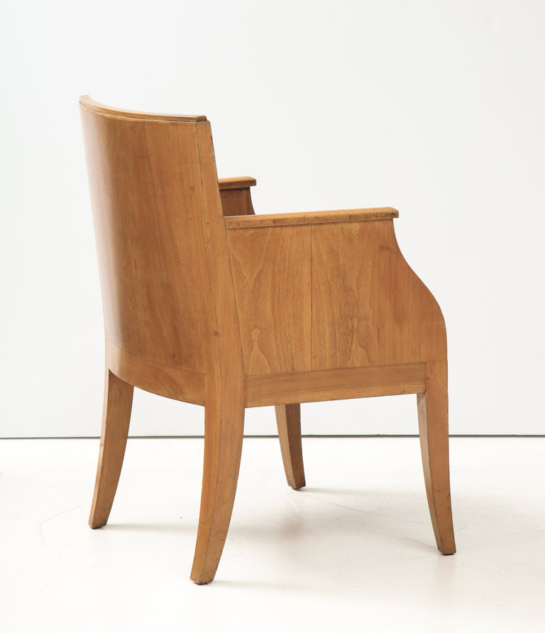 French 40's Oak Chair with Original Brown Leather Seat, France, c. 1940 For Sale 4