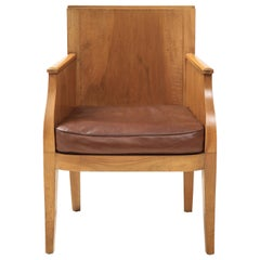 French 40's Oak Chair with Original Brown Leather Seat, France, c. 1940