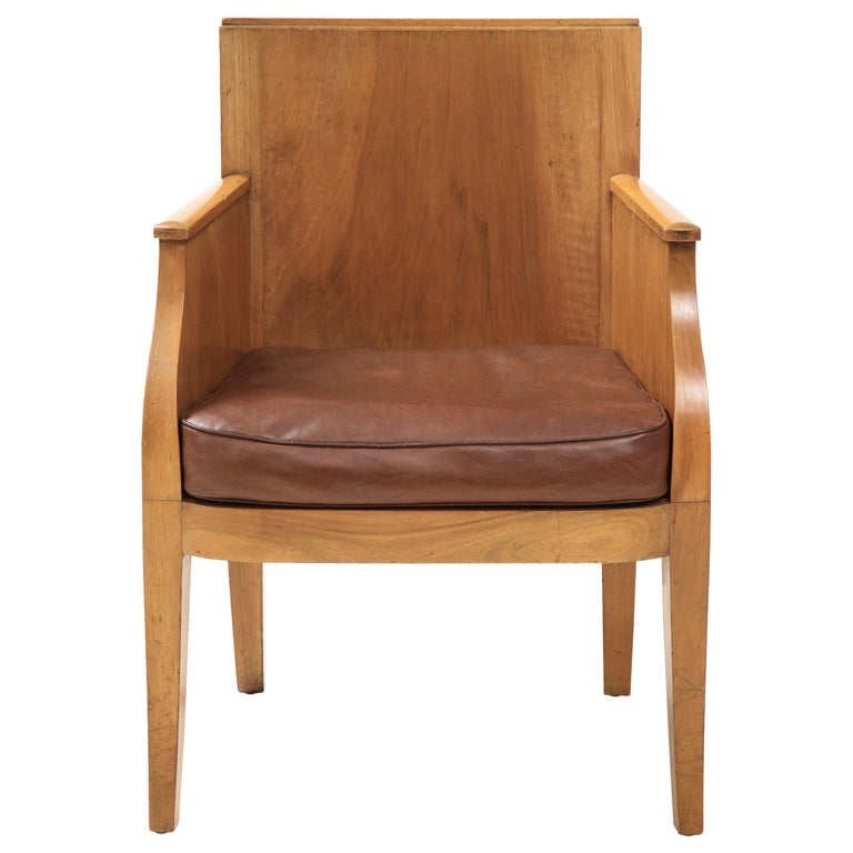 French 40's Oak Chair with Original Brown Leather Seat, France, c. 1940 For Sale