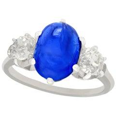 French 4.90 Carat Burmese Sapphire 1.39 Carat Diamond Platinum Cocktail Ring