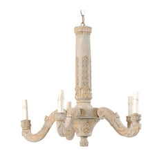 French 5-Light Carved and Painted Wood Chandelier from the Mid-20th Century