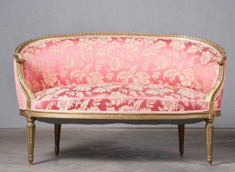 French 5-Piece Louis XVI-Style Sofa Set with Carved Ribbons 19th Century 6
